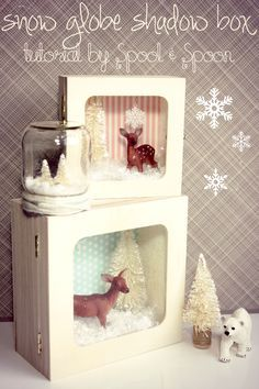 Snow Globe Shadow Box DIY .. great for small samoyed statues