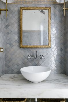 Beautiful gray/blue zellige tile behind the vanity + vessel sink + wall mounted chrome faucet + gold framed antique mirrors + floating marble counter Bad Inspiration, Bathroom Inspiration, Walk In Shower Designs, Home Improvement Loans, Bath Remodel, Carrara, Bathroom Interior Design, Bathroom Remodeling, Remodeling Ideas