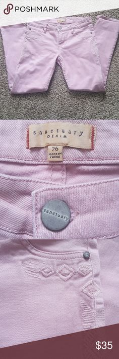 """Sanctuary Denim jeans size 26 These """"boy charmer"""" rose/pink colored jeans have beautiful embroidery along the sides. These are size 26 with 33.5 inches in length. Sanctuary Jeans Ankle & Cropped"""