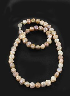 BEAUTIFUL DRUSY PEARL NECKLACE MULTI COLOR STERLING from New World Gems