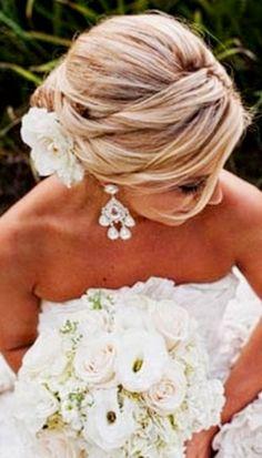 Bride's side part chignon bun bridal bridal hair Toni Kami Wedding Hairstyles ♥ ❷ Wedding hairstyle ideas great hair color