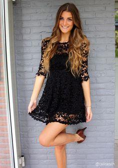 Crochet Floral Crop Sleeve Dress