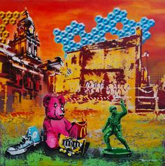 Fadiel Hermans: Lost & Found: fine art | StateoftheART South African Art, Toy Soldiers, Street Art Graffiti, Lost & Found, Quote Prints, Drawing S, Canvas Size, Original Artwork, Sketches