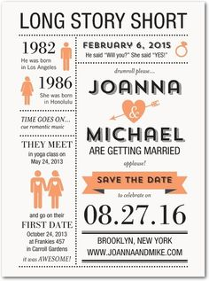 Long Story Short - Signature White Save the Date Cards - East Six Design - Tangerine - Orange : Front