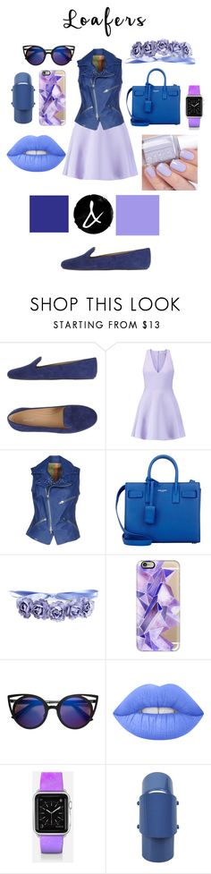 """""""blue loafers"""" by izzy-clothes ❤ liked on Polyvore featuring Bally, Elizabeth and James, S.W.O.R.D., Yves Saint Laurent, Casetify, Essie, Lime Crime and Maison Margiela"""