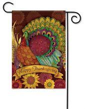 Colorful Turkey Thanksgiving Garden Flag