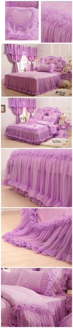 Purple Lace Ruffled Bedding Set Fairy Girls Duvet Cover Set Romantic Princess Comforter Cover Set