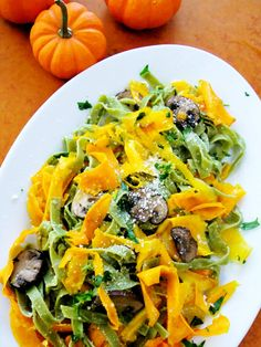 butternut squash ribbons with pasta - so beautiful, just ribbons of butternut squash gently roasted and tossed with the pasta -