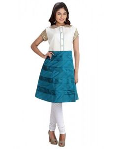 Gorgeous Off White & Teal Blue Ready Made Kurti  Rs.2,245 30% OFF
