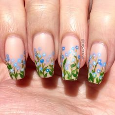 forget me not spring wildflower floral nails nail art - Nail Art - Floral - Cute Spring Nails, Spring Nail Art, Cute Nails, Spring Art, Nail Art Designs, Nail Selection, Floral Nail Art, Dream Nails, Flower Nails