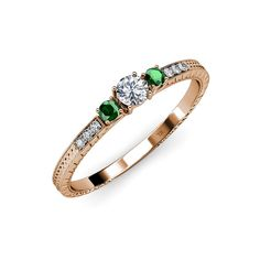 Diamond and Emerald Three Stone Ring with Diamond on Side Bar 0.42 ct tw in 14K Gold *** Quickly view this special  product, click the image : Engagement Rings
