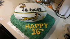 South African rugby ball cake.