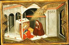 Olivuccio di Ciccarello  Saint Lucy and Her Mother at the Shrine of Saint Agatha Date1366-1396MediumTempera on wood, gold groundDimensionsHeight: 24.8 cm (9.8 in). Width: 38.4 cm (15.1 in).Current location  Metropolitan Museum of Art