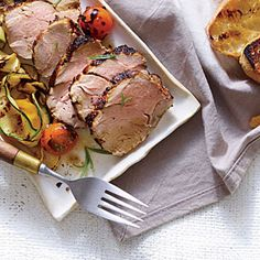 Herbaceous Grilled Pork Tenderloin | Cooking Light #myplate #protein