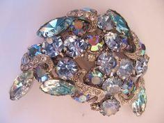 Vintage Mid Century Crescent Blue-Aqua Rhinestone Pin-Brooch