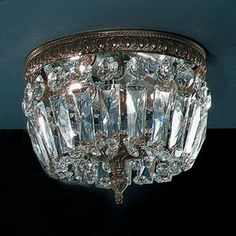 Classic Lighting 8-in W Roman Bronze Crystal Ceiling Flush Mount