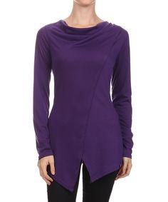 Another great find on #zulily! One Fashion Purple Asymmetrical Split-Hem Top by One Fashion #zulilyfinds