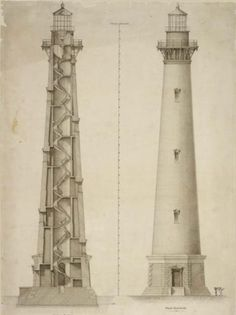 """usnatarchivesexhibits: """" An iconic survivor on the Atlantic coast Since a lighthouse has guided ships around the perilous shoals off Cape Hatteras, North Carolina. The current Cape Hatteras Light House, the tallest in the United States, was. Architecture Drawings, Architecture Old, Historical Architecture, Architecture Details, Lighthouse Drawing, Lighthouse Art, Coastal Pictures, Cape Hatteras Lighthouse, Lighthouse Pictures"""