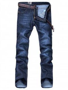Straight Leg Classical Bleach Wash Jeans