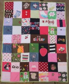 Onesies Blanket, Im saving all of Kinsey's onesies to make her a quilt like this one.