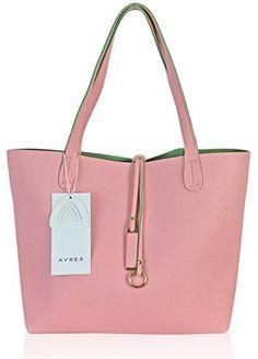 $39.99Avber Womens Thread Stitching Pure Color Faux Leather Handbag Shoulder Bag Tote Bag Pink: Handbags: Amazon.com