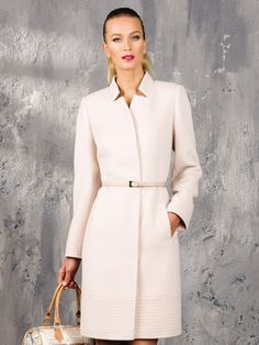 Cream coat with belt