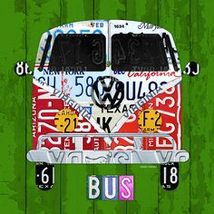 #Volkswagen Vw #Bus Front View Vintage Classic Retro Vehicle Recycled License Plate Art Usa