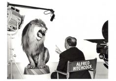 Alfred Hitchcock Directs the MGM Lion. Photograph by Clarence Sinclair Bull, 1958.