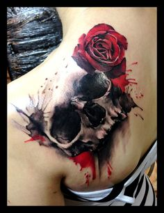 Skull and Rose tattoo by sofsmade
