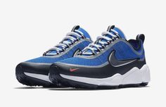Detailed official images of the Nike Zoom Spiridon Ultra Regal Blue colorway, style 876267-400. Pricing and purchase info has been provided.