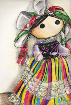 "ninjakoolaid: "" Mexican Doll by Myrinihanna "" Mexican Folk Art, Mexican Style, Mexican Paintings, Mexican Artwork, Doll Drawing, Mexico Art, Mexican Designs, Wow Art, Kawaii"