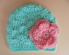 Del ganchillo sombrero del bebé sombrero turquesa por eanddcreation