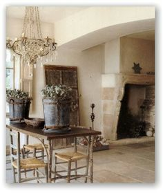 French Country_ Reclaimed limestone floors from Paris Ceramics beautiful and rustic but can be very hard on the back and legs
