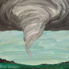 tornado painting Funnel Cloud original acrylic by ElisaAlvarado, $25.00