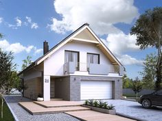 DOM.PL™ - Projekt domu MT Amarylis 3 CE - DOM MS3-65 - gotowy koszt budowy Gable Roof, Home And Away, Home Fashion, Small Towns, House Plans, Garage Doors, Outdoor Structures, House Design, House Styles