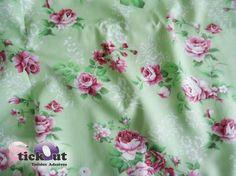 Tecido Adesivo Floral - Verde Água