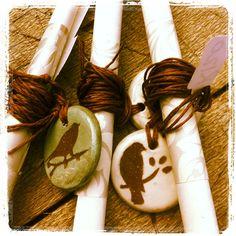 ceramic pendants with a scrolled message - clay art by Sonja Moore Ceramic Pendant, Clay Art, Napkin Rings, Heaven, Pendants, Ceramics, Home Decor, Ceramica, Sky