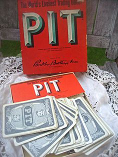 Vintage 'Pit' card game complete with box by LittleBeachDesigns, $16.00