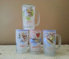 Vintage Frosted Glass Beer  Mugs Hand Painted England Sweden USA Mexico by GladStoneatHome on Etsy