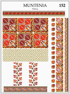 Folk Embroidery, Embroidery Patterns, Beading Patterns, Cross Stitch Patterns, Textile Patterns, Knitting Patterns, Diy Dress, Needlework, Stencils
