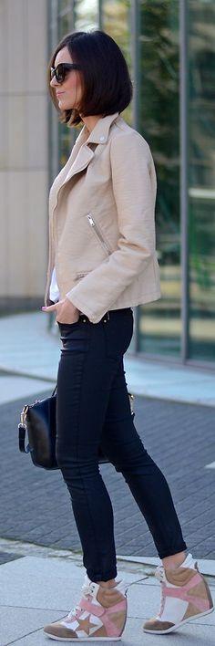 Nude Leather Moto Jacket sneaker heels