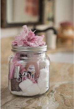 Mason jar nail car gift set, so cute! Going to start making these!!