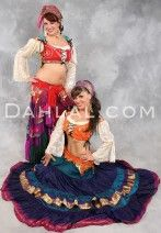 RAISED HEM GRADIENT SARI SKIRT with Draw String Waist, for Belly Dance