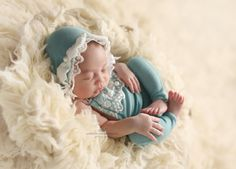 Newborn Romper & Bonnet Set Photo Prop, Photography, Baby Girl, Dark Teal, Lace Detail by MissMadisonPhotoProp on Etsy