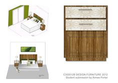 Interiors: C3ID012B* Client presentation    Furniture design unit and different ways of drawing up and setting out example.