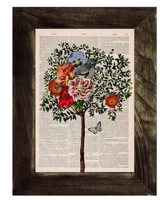 CollageTree with Bird Print on Vintage Book page  by PRRINT, $7.99