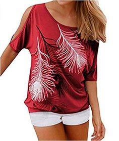 Women's Fashion Off Shoulder Tops Short Sleeve Blouse Casual T-Shirt