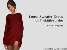 Sims 4 CC's - The Best: Loose Sweater Dress (in tops category) by Elliesim...