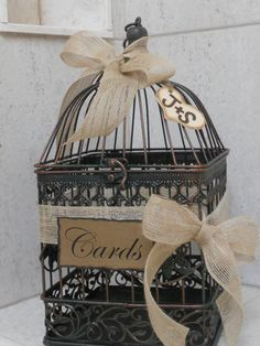 birdcage wedding card holder rustic burlap wedding by thosedays 4500