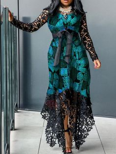 Long Sleeve Floor-Length Color Block Asymmetrical Womens Lace Dress Find latest women's clothing, dresses, tops, outerwear, and other fashion clothing and enjoy the worldwide shipping # Latest African Fashion Dresses, African Print Fashion, Latest Fashion, Lace Dress Styles, Blouse Styles, Frack, African Dress, Evening Dresses, Dresses Dresses